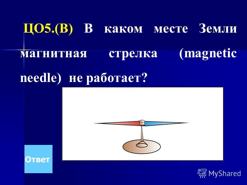 ЦО5.(В) В каком месте Земли магнитная стрелка (magnetic needle) не работает? Ответ