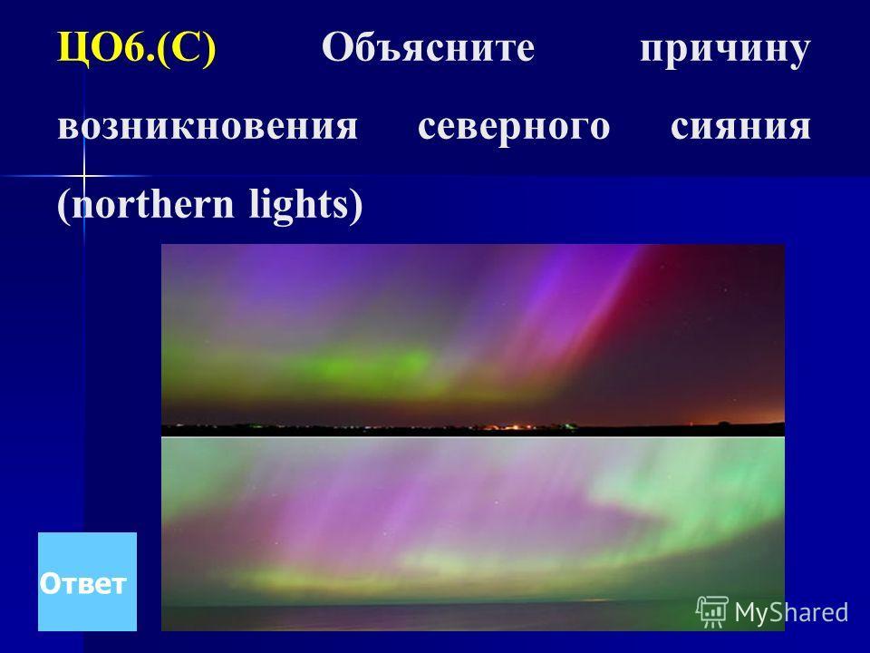 ЦО6.(С) Объясните причину возникновения северного сияния (northern lights) Ответ