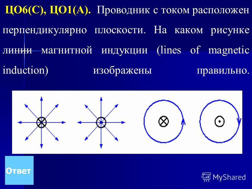 ЦО6(С), ЦО1(А). Проводник с током расположен перпендикулярно плоскости. На каком рисунке линии магнитной индукции (lines of magnetic induction) изображены правильно. Ответ