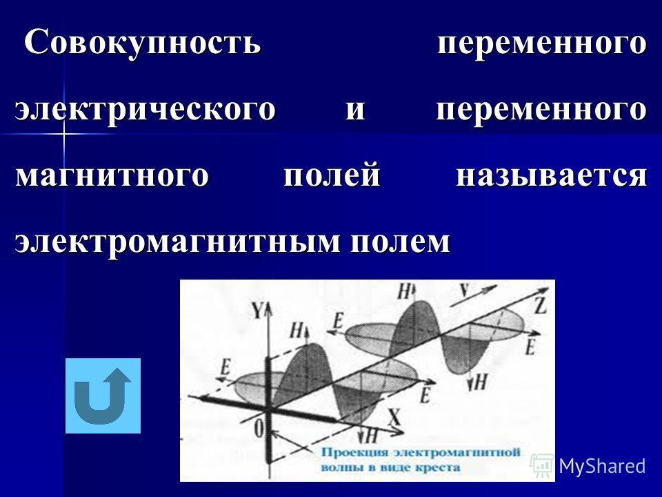 Совокупность переменного электрического и переменного магнитного полей называется электромагнитным полем Совокупность переменного электрического и переменного магнитного полей называется электромагнитным полем