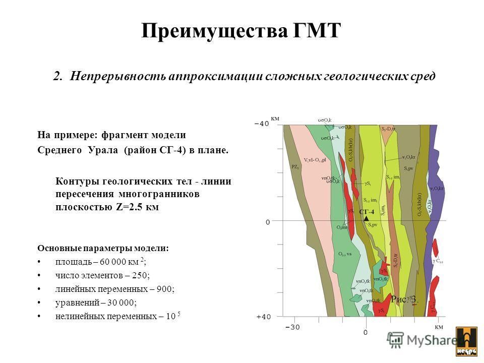 На примере: фрагмент модели Среднего Урала (район СГ-4) в плане. Контуры геологических тел - линии пересечения многогранников плоскостью Z=2.5 км Основные параметры модели: площадь – 60 000 км 2 ; число элементов – 250; линейных переменных – 900; ура