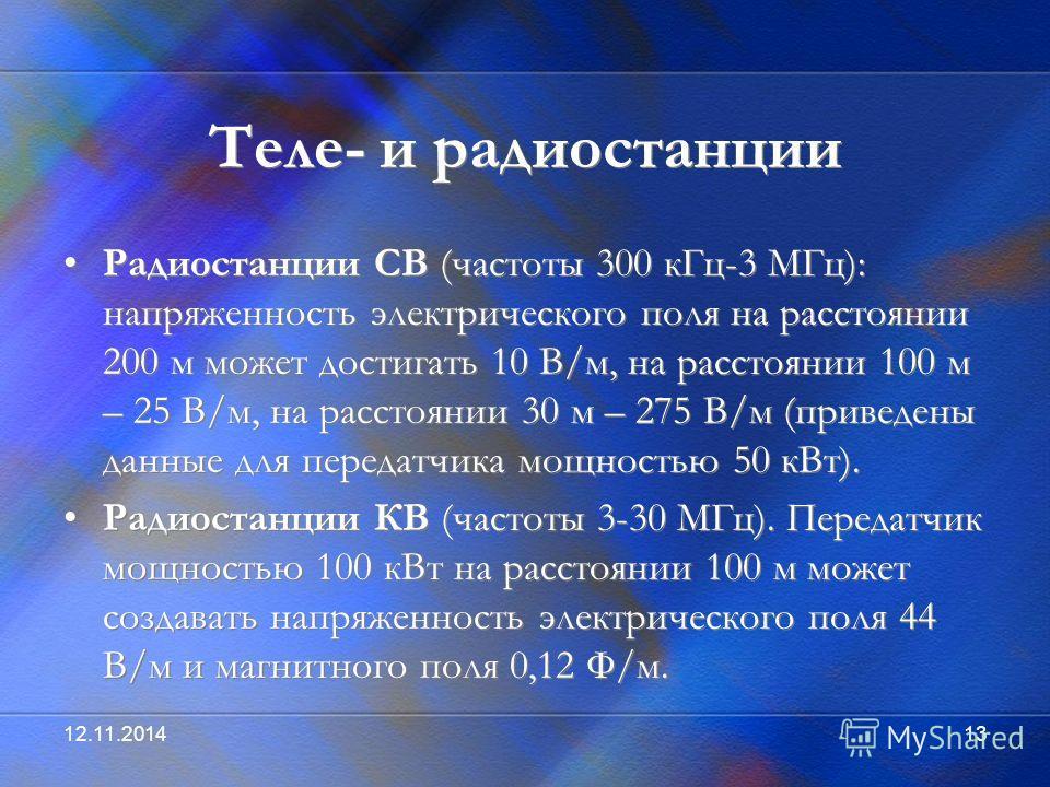 12.11.201413 Теле- и радиостанции Радиостанции СВ (частоты 300 к Гц-3 МГц): напряженность электрического поля на расстоянии 200 м может достигать 10 В/м, на расстоянии 100 м – 25 В/м, на расстоянии 30 м – 275 В/м (приведены данные для передатчика мощ