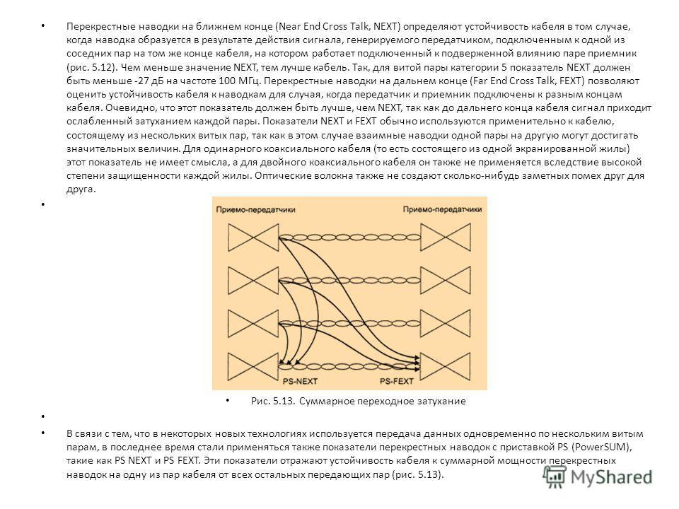 Перекрестные наводки на ближнем конце (Near End Cross Talk, NEXT) определяют устойчивость кабеля в том случае, когда наводка образуется в результате действия сигнала, генерируемого передатчиком, подключенным к одной из соседних пар на том же конце ка