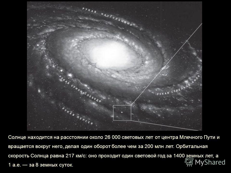 Солнце находится на расстоянии около 26 000 световых лет от центра Млечного Пути и вращается вокруг него, делая один оборот более чем за 200 млн лет. Орбитальная скорость Солнца равна 217 км/с: оно проходит один световой год за 1400 земных лет, а 1 а