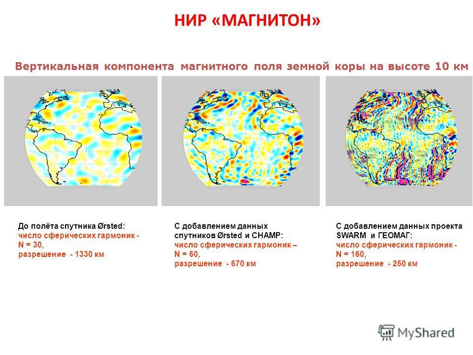 НИР «МАГНИТОН» Вертикальная компонента магнитного поля земной коры на высоте 10 км До полёта спутника Ørsted: число сферических гармоник - N = 30, разрешение - 1330 км С добавлением данных спутников Ørsted и CHAMP: число сферических гармоник – N = 60