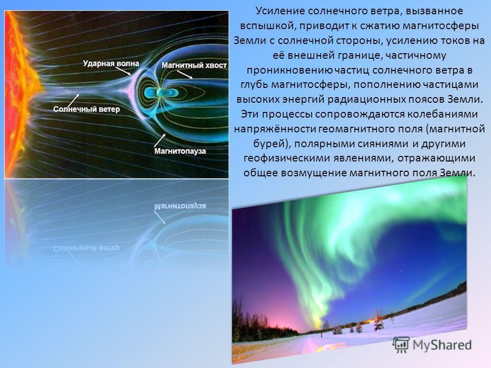 Усиление солнечного ветра, вызванное вспышкой, приводит к сжатию магнитосферы Земли с солнечной стороны, усилению токов на её внешней границе, частичному проникновению частиц солнечного ветра в глубь магнитосферы, пополнению частицами высоких энергий