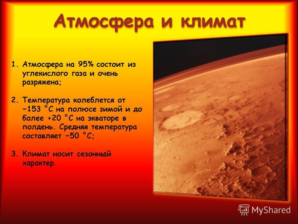 1. Атмосфера на 95% состоит из углекислого газа и очень разряжена; 2. Температура колеблется от 153 °C на полюсе зимой и до более +20 °C на экваторе в полдень. Средняя температура составляет 50 °C; 3. Климат носит сезонный характер.