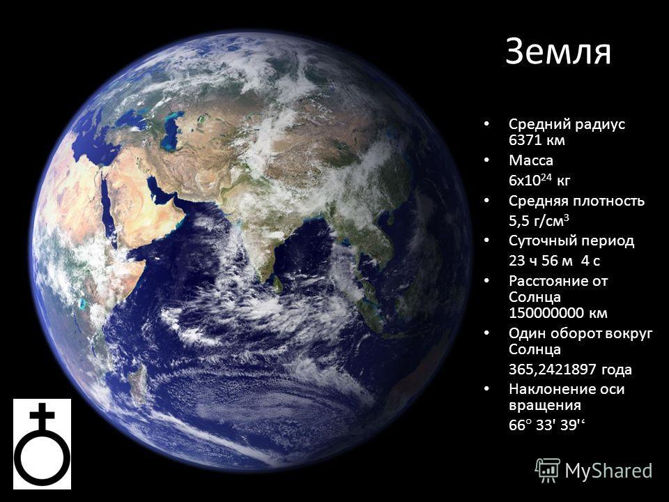 Земля Средний радиус 6371 км Масса 6 х 10 24 кг Средняя плотность 5,5 г/см 3 Суточный период 23 ч 56 м 4 с Расстояние от Солнца 150000000 км Один оборот вокруг Солнца 365,2421897 года Наклонение оси вращения 66 ° 33 ' 39 '