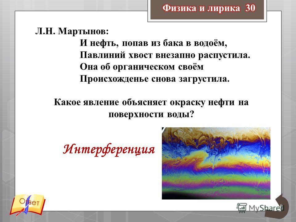 Л.Н. Мартынов: И нефть, попав из бака в водоём, Павлиний хвост внезапно распустила. Она об органическом своём Происхожденье снова загрустила. Какое явление объясняет окраску нефти на поверхности воды? Ответ Интерференция