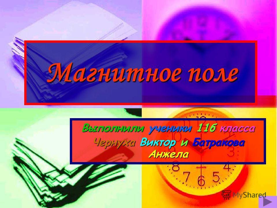 Магнитное поле Выполнили ученики 11 б класса Чернуха Виктор и Батракова Анжела