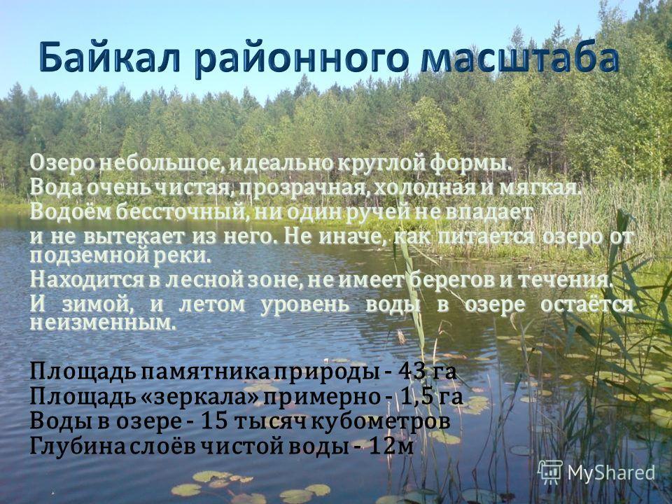 Озеро небольшое, идеально круглой формы. Вода очень чистая, прозрачная, холодная и мягкая. Водоём бессточный, ни один ручей не впадает и не вытекает из него. Не иначе, как питается озеро от подземной реки. Находится в лесной зоне, не имеет берегов и