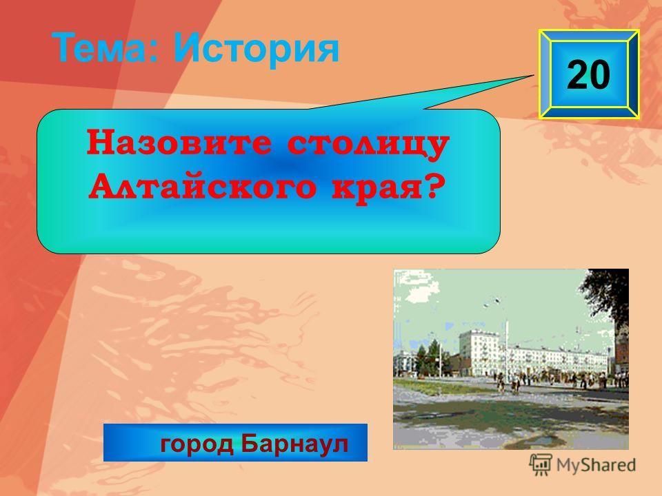город Барнаул 20 Назовите столицу Алтайского края? Тема: История