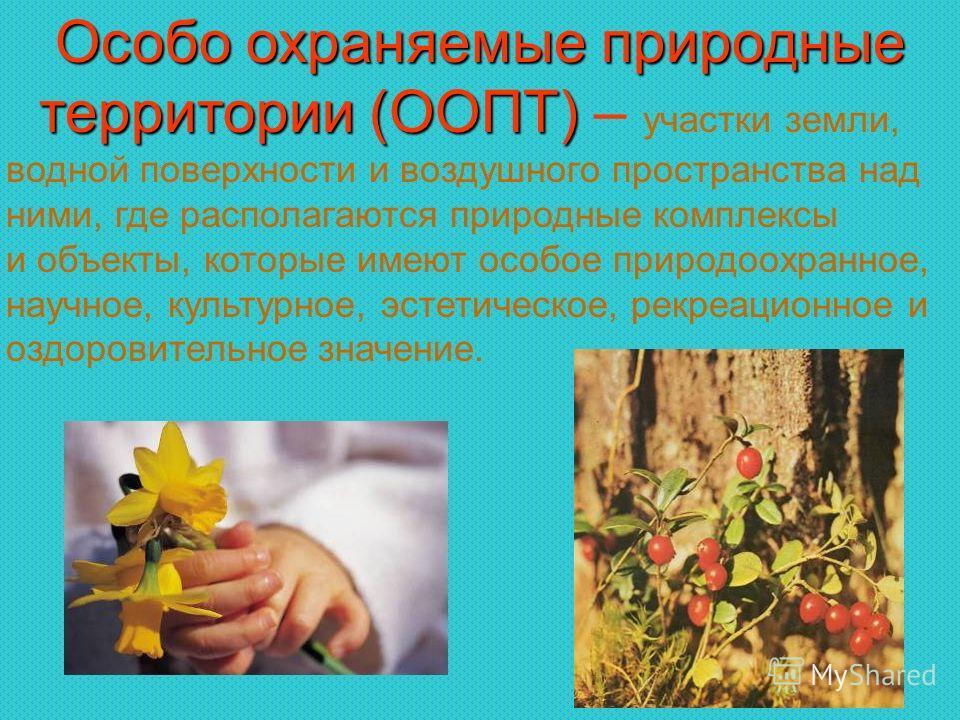 Особо охраняемые природные территории (ООПТ) территории (ООПТ) – участки земли, водной поверхности и воздушного пространства над ними, где располагаются природные комплексы и объекты, которые имеют особое природоохранное, научное, культурное, эстетич
