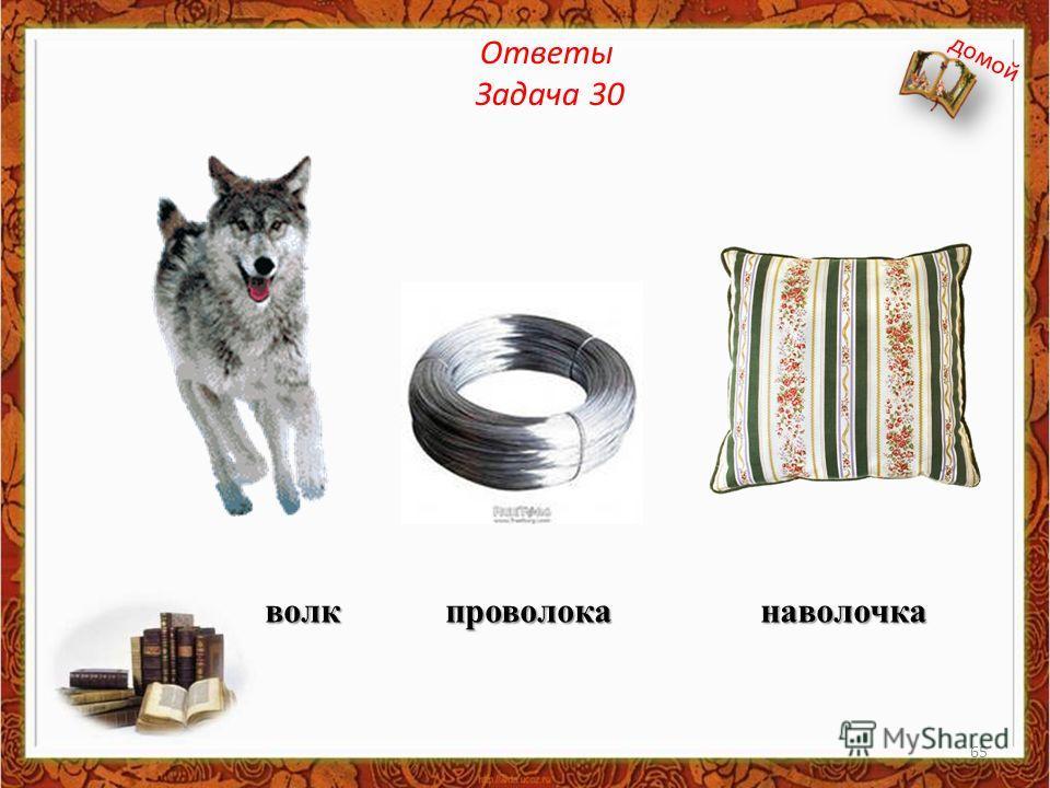 Ответы Задача 30 волк проволока наволочка домой 65