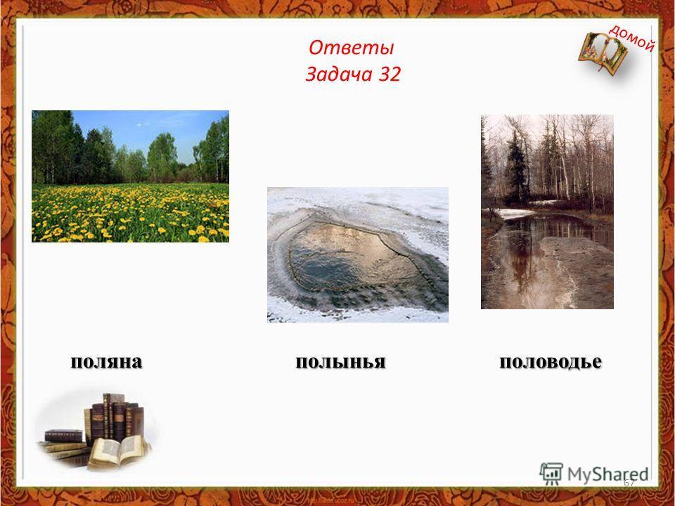 Ответы Задача 32 поляна полынья половодье домой 67