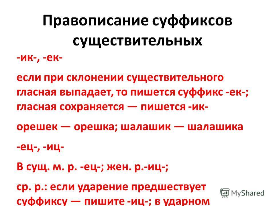 Правописание суффиксов существительных -ик-, -ек- если при склонении существительного гласная выпадает, то пишется суффикс -ек-; гласная сохранается пишется -ик- орешек орешка; шалашик шалашика -ес-, -иц- В сущ. м. р. -ес-; жен. р.-иц-; ср. р.: если