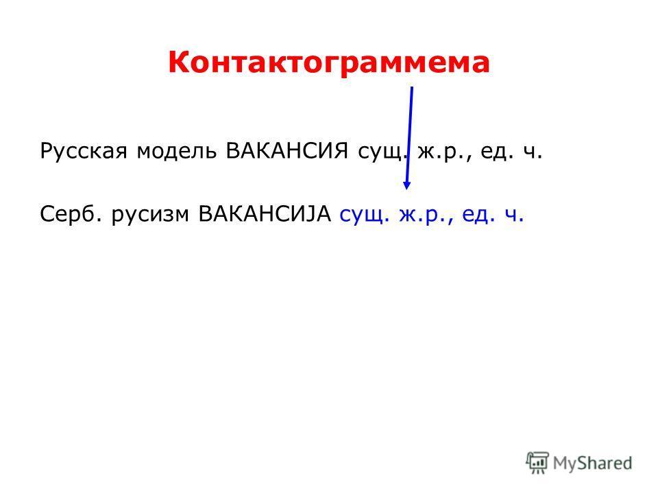 Контактограммема Русская модель ВАКАНСИЯ сущ. ж.р., ед. ч. Серб. русизм ВАКАНСИЈА сущ. ж.р., ед. ч.
