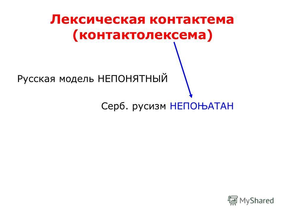 Лексическая контактема (контактолексема) Русская модель НЕПОНЯТНЫЙ Серб. русизм НЕПОЊАТАН