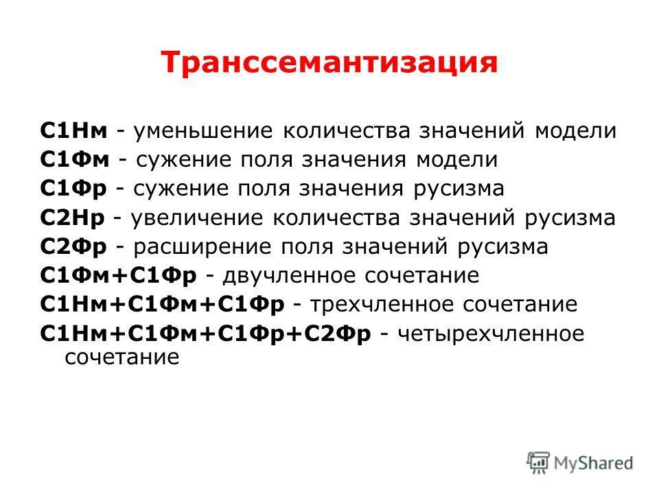 Транссемантизация С1Нм - уменьшение количества значений модели С1Фм - сужение поля значения модели С1Фр - сужение поля значения русизма С2Нр - увеличение количества значений русизма С2Фр - расширение поля значений русизма С1Фм+С1Фр - двучленное сочет