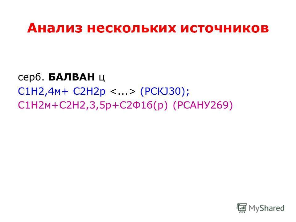 Анализ нескольких источников серб. БАЛВАН ц С1Н2,4 м+ С2Н2 р (РСКЈ30); С1Н2 м+С2Н2,3,5 р+С2Ф1 б(р) (РСАНУ269)