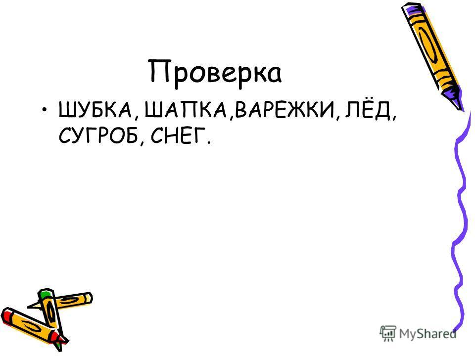 Проверка ШУБКА, ШАПКА,ВАРЕЖКИ, ЛЁД, СУГРОБ, СНЕГ.