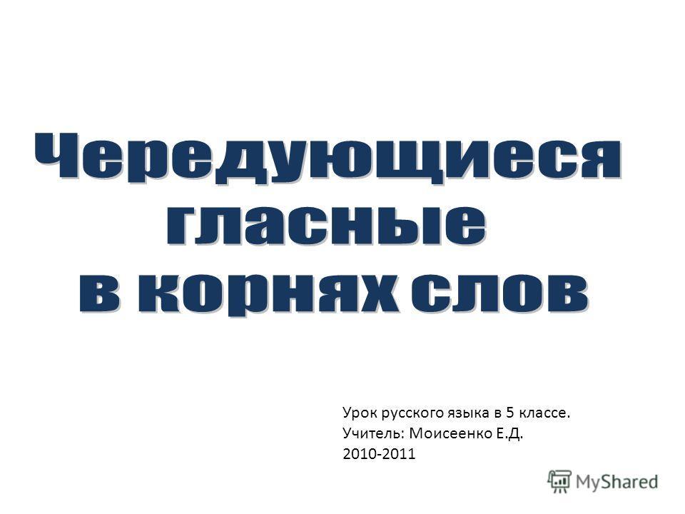 Урок русского языка в 5 классе. Учитель: Моисеенко Е.Д. 2010-2011