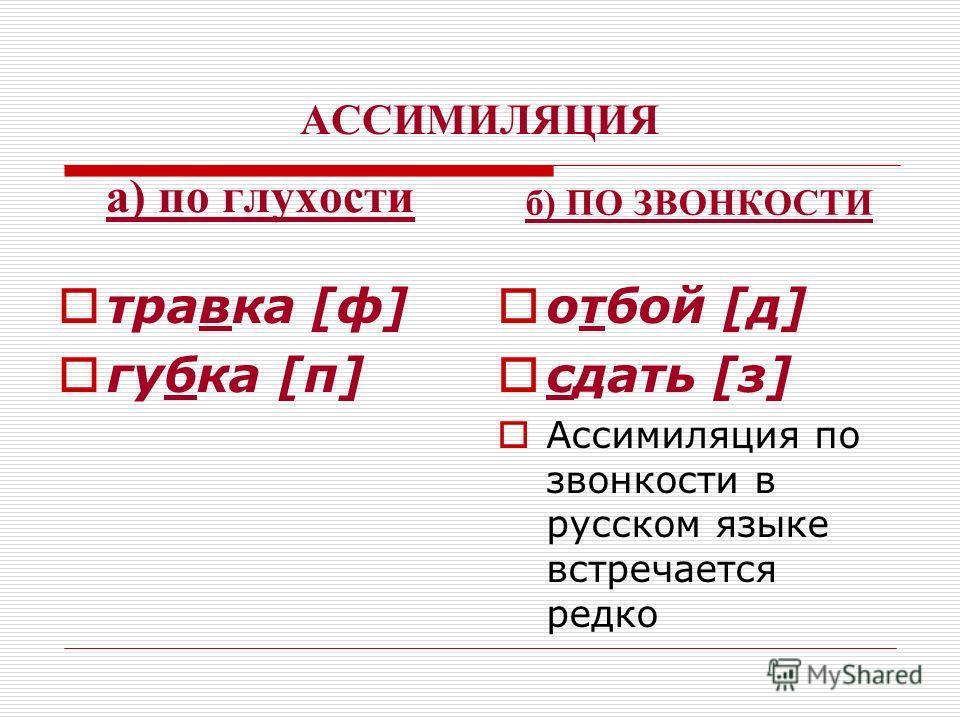 АССИМИЛЯЦИЯ а) по глухости травка [ф] губка [п] б) ПО ЗВОНКОСТИ отбой [д] сдать [з] Ассимиляция по звонкости в русском языке встречается редко