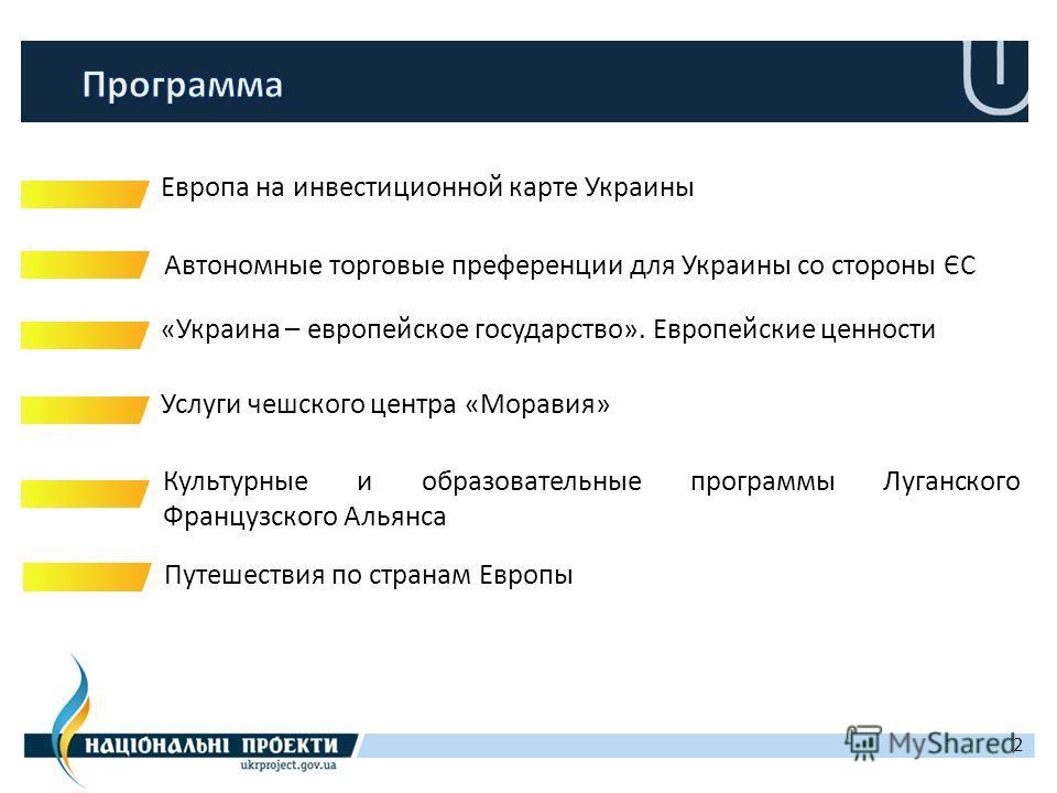 2 Европа на инвестиционной карте Украины «Украина – европейское государство». Европейские ценности Услуги чешского центра «Моравия» Автономные торговые преференции для Украины со стороны ЄС Культурные и образовательные программы Луганского Французско
