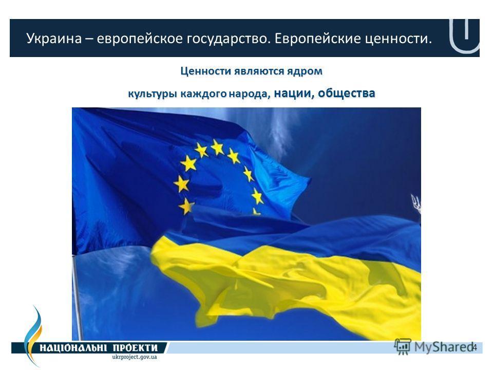 4 Украина – европейское государство. Европейские ценности. Ценности являются ядром культуры каждого народа, нации, общества