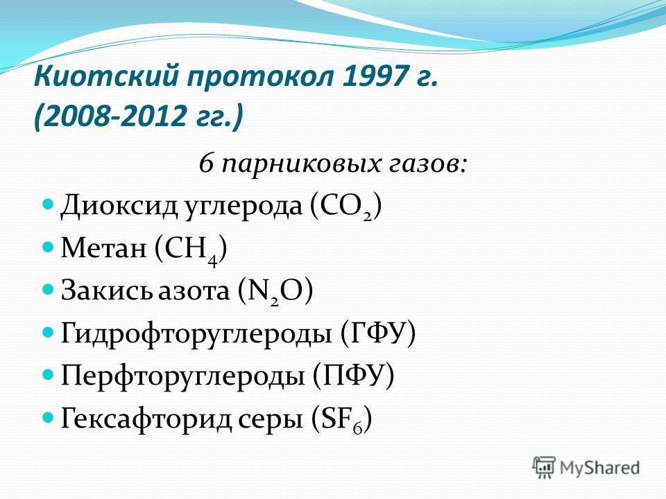 Киотский протокол 1997 г. (2008-2012 гг.) 6 парниковых газов: Диоксид углерода (CO 2 ) Метан (CH 4 ) Закись азота (N 2 O) Гидрофторуглероды (ГФУ) Перфторуглероды (ПФУ) Гексафторид серы (SF 6 )
