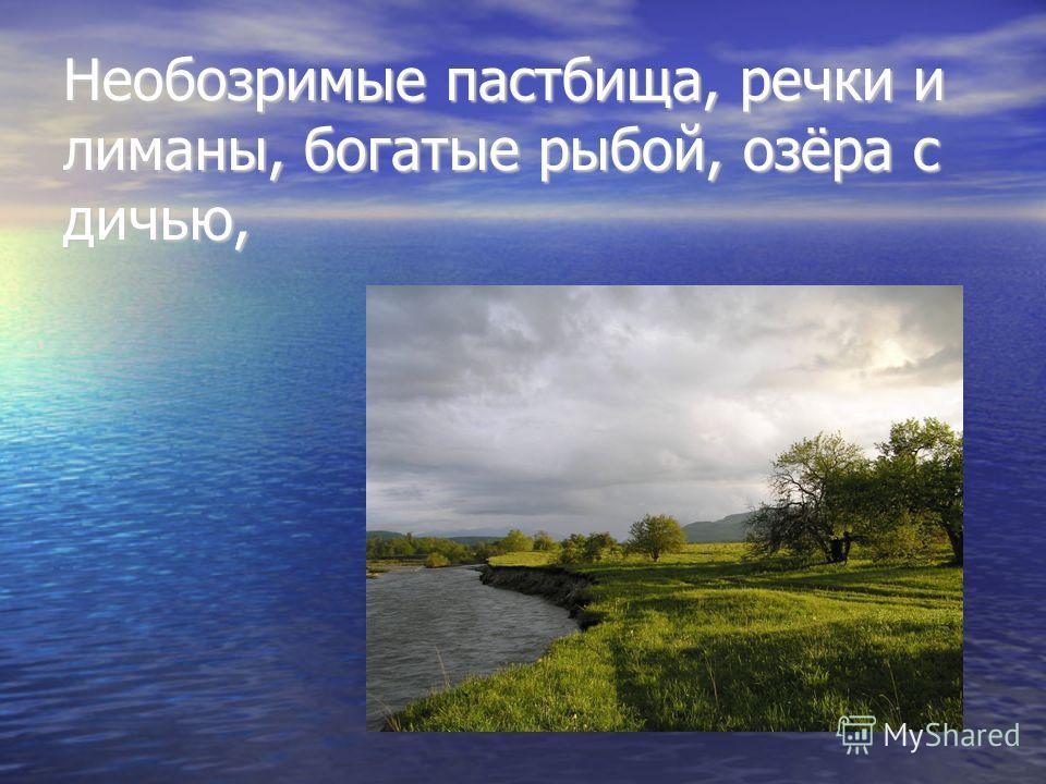 Необозримые пастбища, речки и лиманы, богатые рыбой, озёра с дичью,