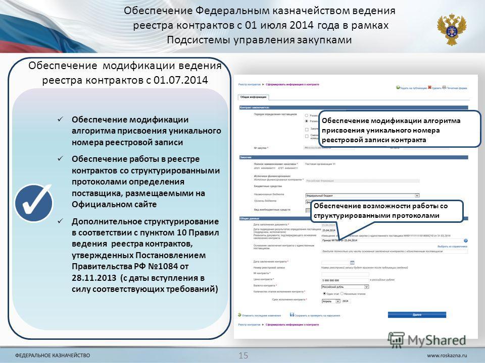 Обеспечение модификации алгоритма присвоения уникального номера реестровой записи Обеспечение работы в реестре контрактов со структурированными протоколами определения поставщика, размещаемыми на Официальном сайте Дополнительное структурирование в со