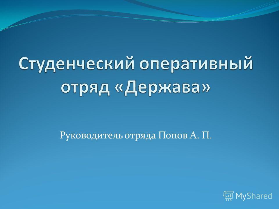Руководитель отряда Попов А. П.