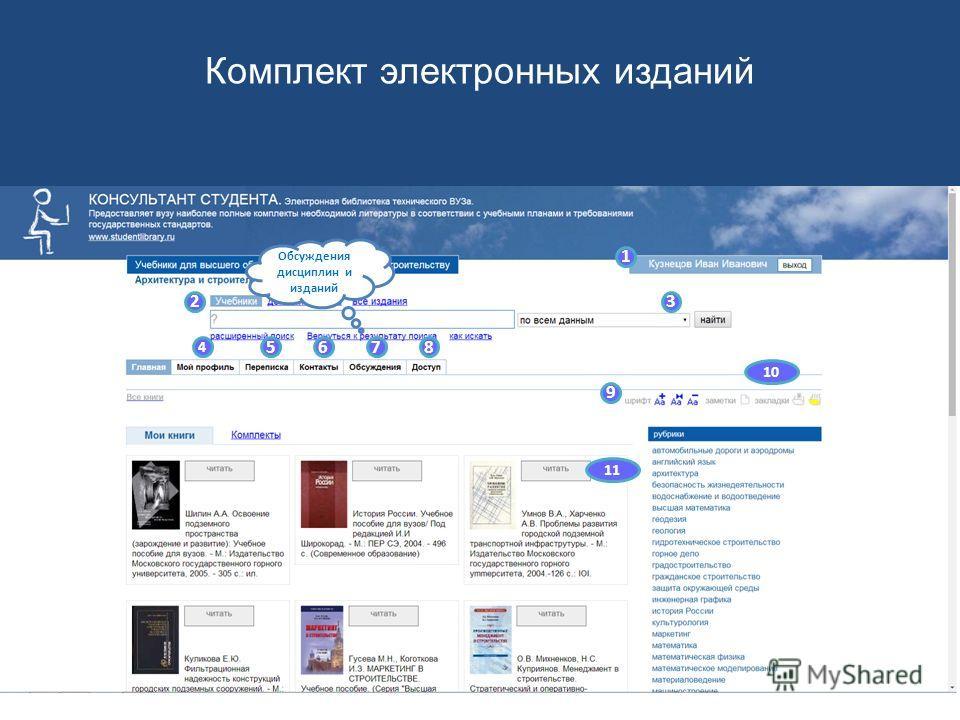 1 23 4 5678 9 10 11 Группы контактов Комплект электронных изданий