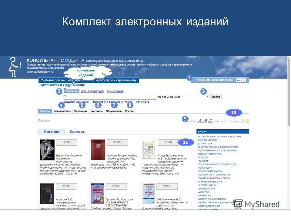 1 23 4 5678 9 10 11 Персональный доступ Комплект электронных изданий