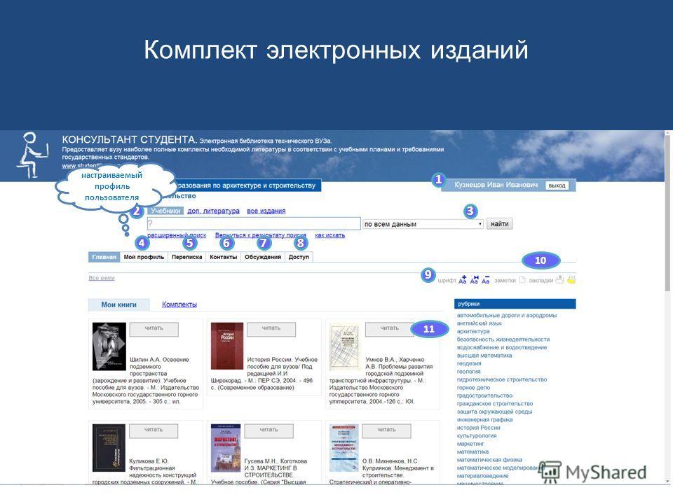 1 23 4 5678 9 10 11 Уникальная система поиска Комплект электронных изданий