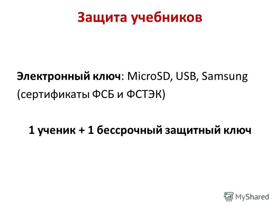 Защита учебников Электронный ключ: MicroSD, USB, Samsung (сертификаты ФСБ и ФСТЭК) 1 ученик + 1 бессрочный защитный ключ
