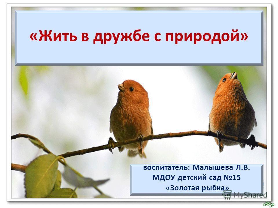 «Жить в дружбе с природой» воспитатель: Малышева Л.В. МДОУ детский сад 15 «Золотая рыбка»