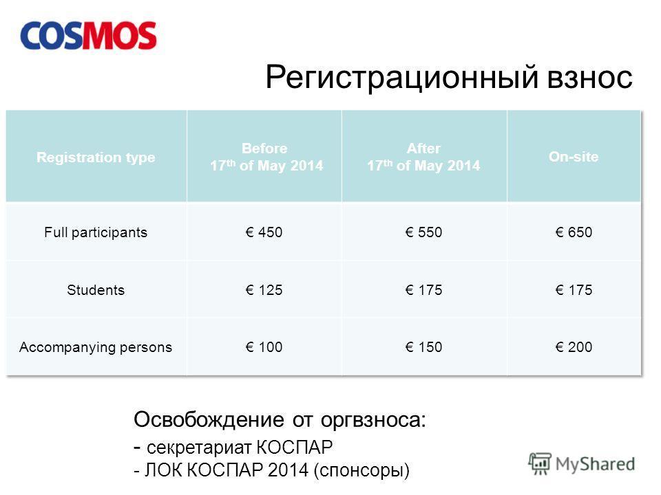 Регистрационный взнос Освобождение от оргвзноса: - секретариат КОСПАР - ЛОК КОСПАР 2014 (спонсоры)