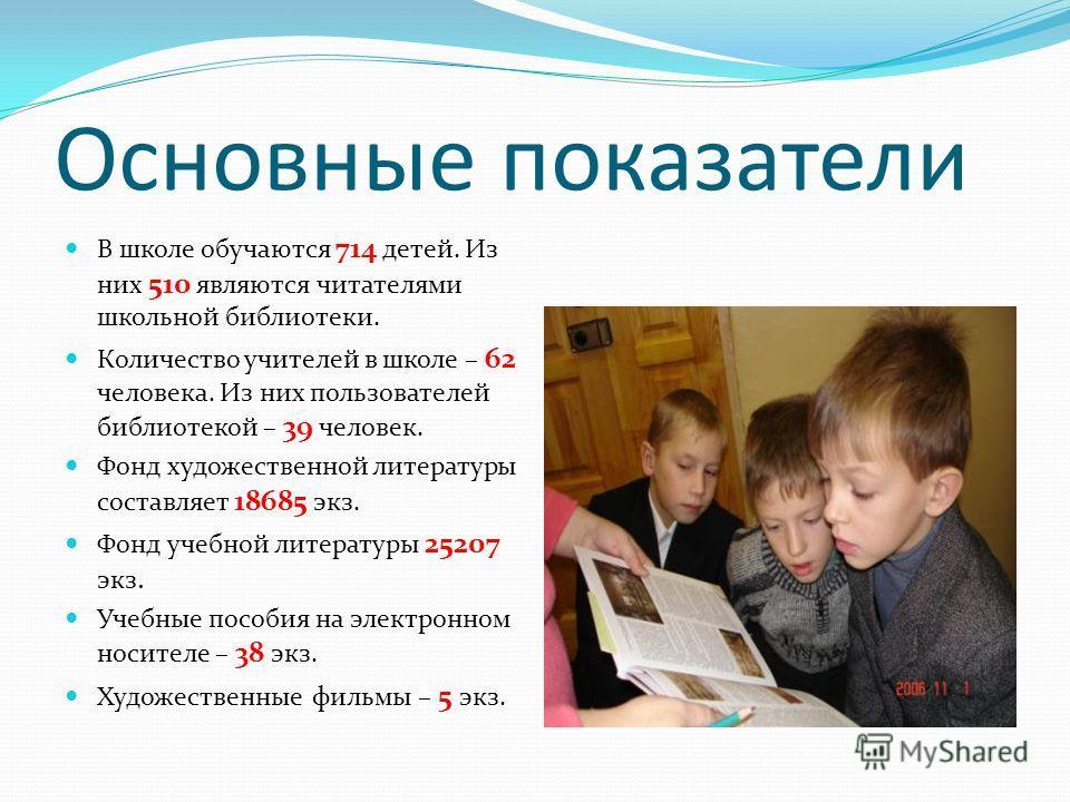 Основные показатели В школе обучаются 714 детей. Из них 510 являются читателями школьной библиотеки. Количество учителей в школе – 62 человека. Из них пользователей библиотекой – 39 человек. Фонд художественной литературы составляет 18685 экз. Фонд у