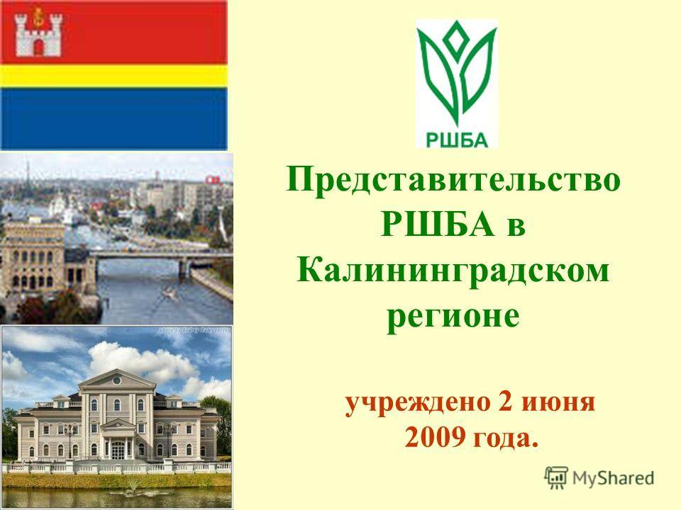 Представительство РШБА в Калининградском регионе учреждено 2 июня 2009 года.