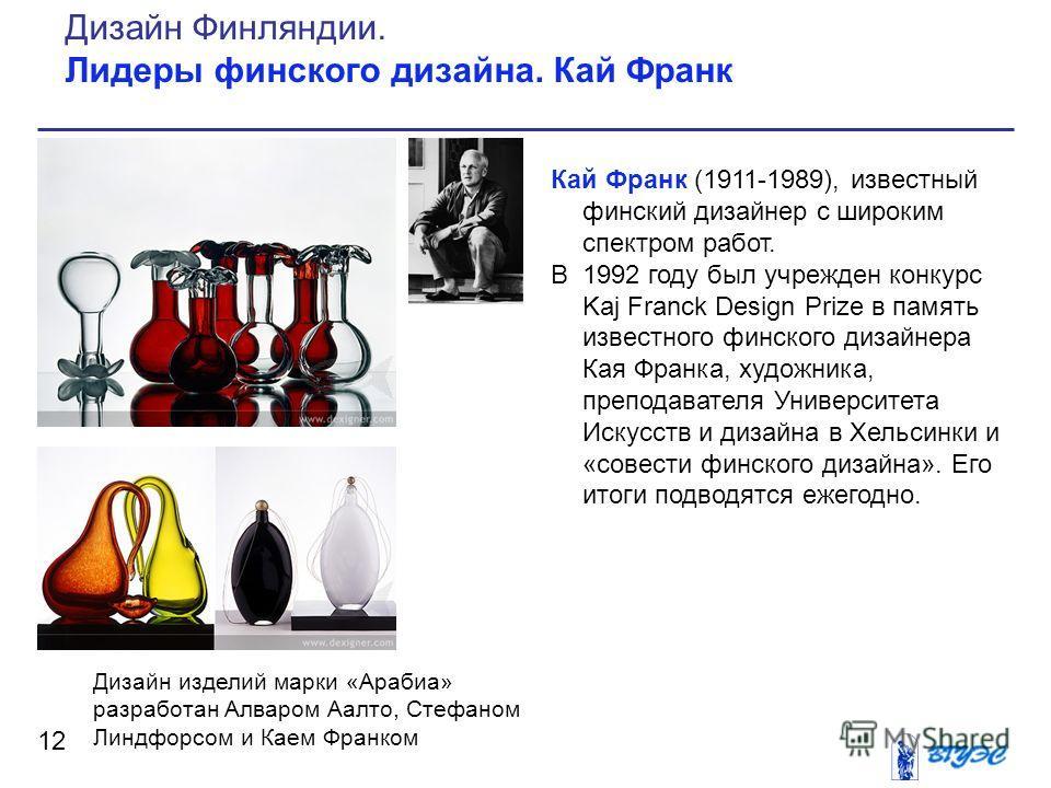 Кай Франк (1911-1989), известный финский дизайнер с широким спектром работ. В 1992 году был учрежден конкурс Kaj Franck Design Prize в память известного финского дизайнера Кая Франка, художника, преподавателя Университета Искусств и дизайна в Хельсин
