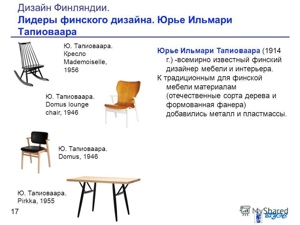 Юрье Ильмари Тапиоваара (1914 г.) -всемирно известный финский дизайнер мебели и интерьера. К традиционным для финской мебели материалам (отечественные сорта дерева и формованная фанера) добавились металл и пластмассы. 17 Дизайн Финляндии. Лидеры финс