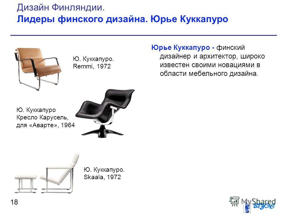 Юрье Куккапуро - финский дизайнер и архитектор, широко известен своими новациями в области мебельного дизайна. 18 Дизайн Финляндии. Лидеры финского дизайна. Юрье Куккапуро Ю. Куккапуро Кресло Карусель, для «Аварте», 1964 Ю. Куккапуро. Remmi, 1972 Ю.