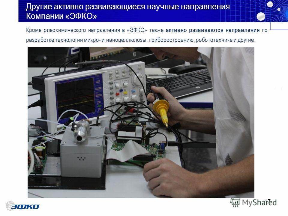 17 Кроме олео химического направления в «ЭФКО» также активно развиваются направления по разработке технологии микро- и нано целлюлозы, приборостроению, робототехнике и другие. Другие активно развивающиеся научные направления Компании «ЭФКО»
