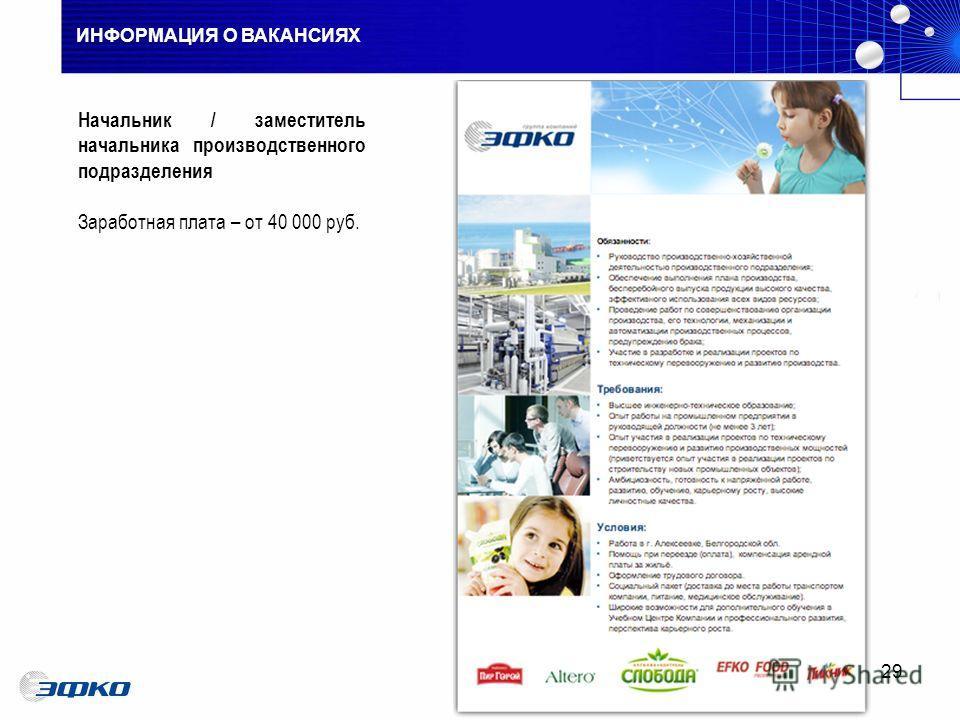 ИНФОРМАЦИЯ О ВАКАНСИЯХ 29 Начальник / заместитель начальника производственного подразделения Заработная плата – от 40 000 руб.