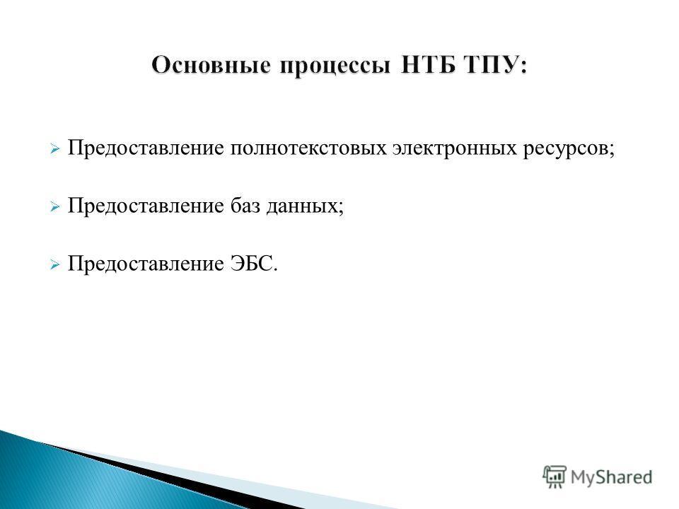 Предоставление полнотекстовых электронных ресурсов; Предоставление баз данных; Предоставление ЭБС.