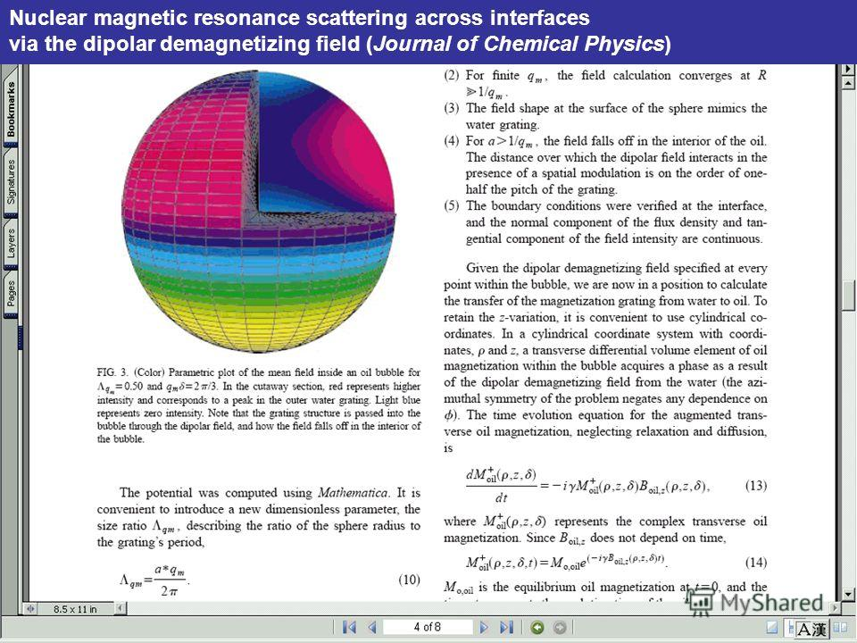 МБИ, октябрь 2006 г. Nuclear magnetic resonance scattering across interfaces via the dipolar demagnetizing field (Journal of Chemical Physics)