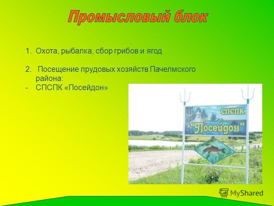 1.Охота, рыбалка, сбор грибов и ягод 2. Посещение прудовых хозяйств Пачелмского района: -СПСПК «Посейдон»