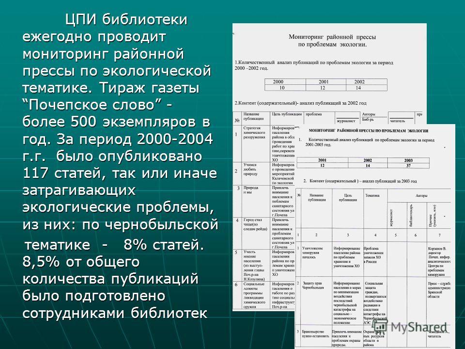 ЦПИ библиотеки ежегодно проводит мониторинг районной прессы по экологической тематике. Тираж газеты Почепское слово - более 500 экземпляров в год. За период 2000-2004 г.г. было опубликовано 117 статей, так или иначе затрагивающих экологические пробле